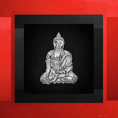 Sacred Symbols - Silver Buddha On Red And Black Original by Serge Averbukh