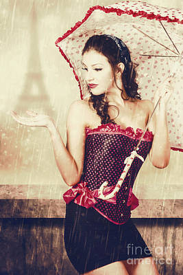 Sad French Pin-up Woman. Loss In The City Of Love Print by Jorgo Photography - Wall Art Gallery