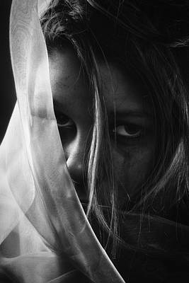 Worried Photograph - Sad Girl - Bw Edition by Erik Brede