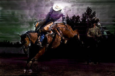 Saddle Bronc Silhouette Print by Mark Courage