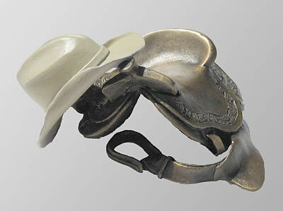 Cowboy Sculpture - Saddle 'n Hat by Hugh Blanding