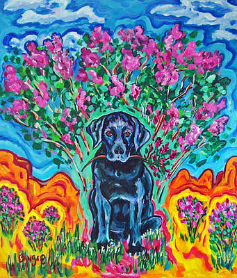 Black Lab Watercolor Painting - Sadie And The Lilacs by Bill Binger