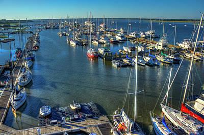 Safe Harbor Charlston Yacht Club Art Charleston City Marina Print by Reid Callaway