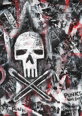 Safety Pins Punk Skull Original by Roseanne Jones