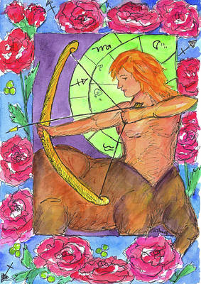 Centaur Drawing - Sagittarius by Cathie Richardson