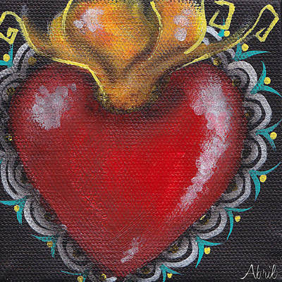 Tattoo Flash Painting - Sagrado Corazon 1 by  Abril Andrade Griffith