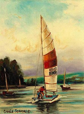 Early California Landscape Painting - Sail Boats At Sea by Carole Spandau