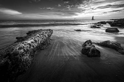 Sail Into The Sunset - Bw Print by Marvin Spates