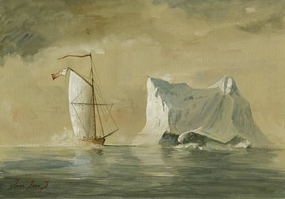 Sail Ship At The Ice Print by Juan Bosco