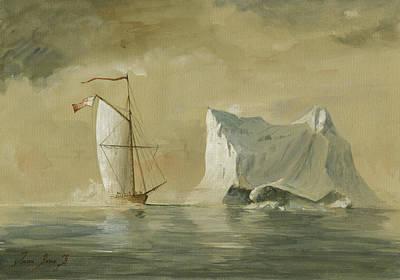 Sail-ship Painting - Sail Ship At The Ice by Juan Bosco