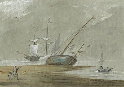 Sail-ship Painting - Sail Ships And Fishing Boats by Juan Bosco