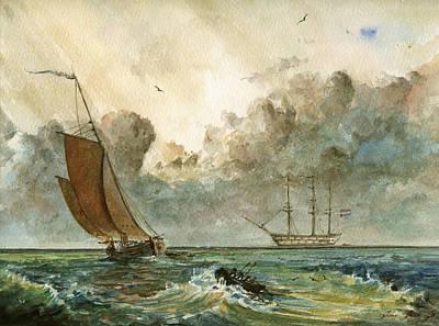 Sail-ship Painting - Sail Ships by Juan  Bosco