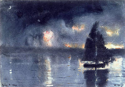 Fireworks Drawing - Sailboat And Fourth Of July Fireworks by Winslow Homer
