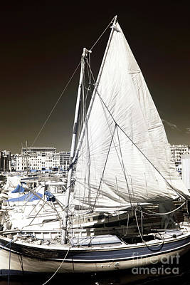 Sailboat In Vieux Port Print by John Rizzuto