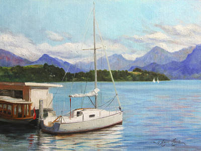 Plein Air Painting - Sailboat On Lake Lucerne Switzerland by Anna Rose Bain