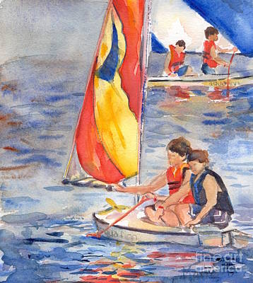 Sailboat Painting In Watercolor Print by Maria's Watercolor
