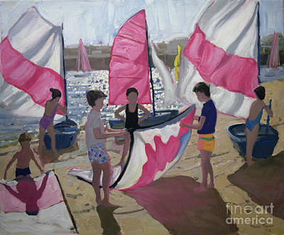 Playing Painting - Sailboat Royan France by Andrew Macara