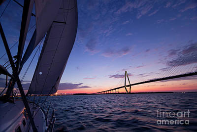 Yacht Photograph - Sailboat Sailing Sunset On The Charleston Harbor  by Dustin K Ryan