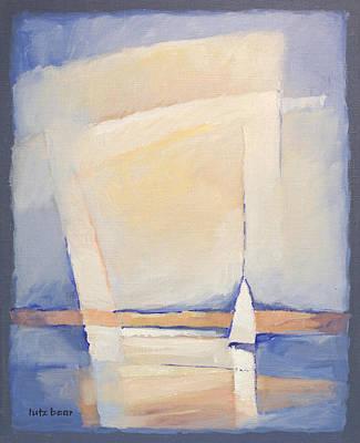 Handpainted Painting - Sailboat Seascape by Lutz Baar