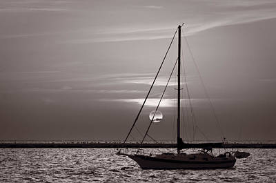 Sailboat Sunrise In B And W Print by Steve Gadomski