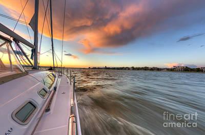 Sailboat Sunset Charleston Battery Print by Dustin K Ryan