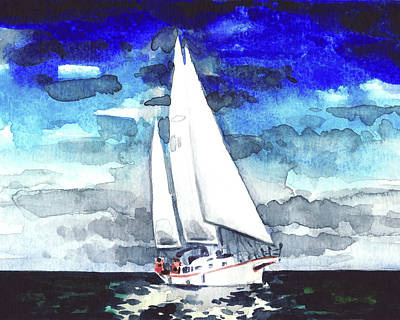 Sailboat White Watercolor Painting Windy Americana Yacht Sailing Kennedy Print by Laura Row