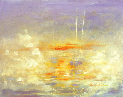 Sailboats In Harbor Painting - Sailboats At Dawn by Hanne Lore Koehler