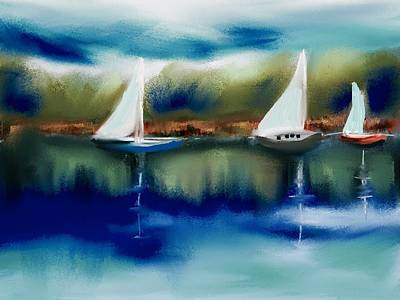 Sailboats At Dusk Original by Frank Bright