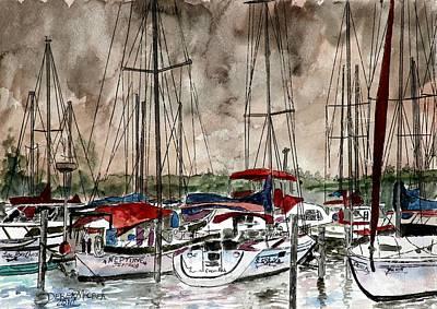 Sepia Ink Drawing - Sailboats At Night by Derek Mccrea