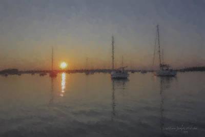 Mcentee Painting - Sailboats At Sunset by Bill McEntee