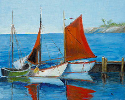 Sailboats At The Dock Original by Barbara Brady