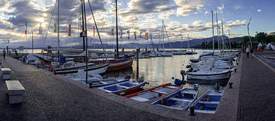 Sailboats In Harbour At Sunset On The Lake Garda In Italy Original by Yevhenii Volchenkov