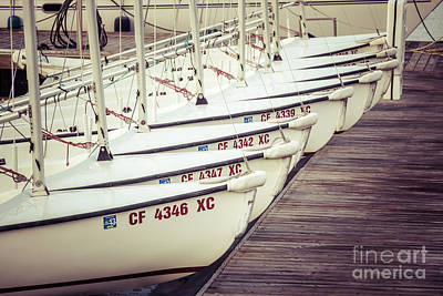Sailboats In Newport Beach Retro Picture Print by Paul Velgos