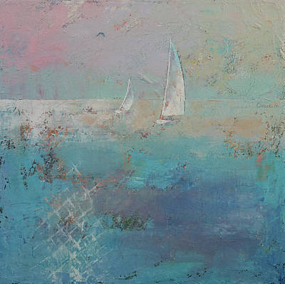 Seagull Painting - Sailboats by Michael Creese