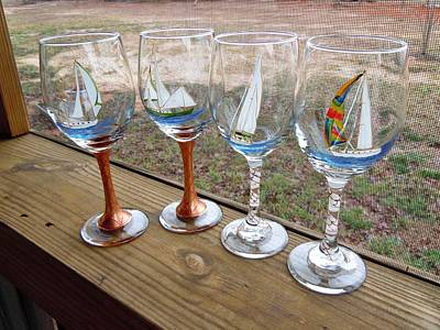 Hand Painted Wine Glass Glass Art - Sailboats On Glass by Pauline Ross