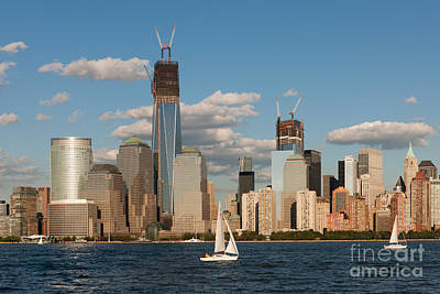Empire State Building Photograph - Sailboats On The Hudson IIi by Clarence Holmes