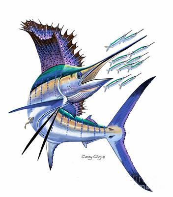 Aquatic Digital Art - Sailfish Digital by Carey Chen