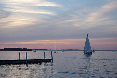 Sailing At The Uw - Madison Print by Lisa Patti Konkol