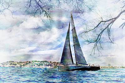 Abstract Beach Landscape Digital Art - Sailing Boat Titan,seaside,cottage, by Jean Francois Gil