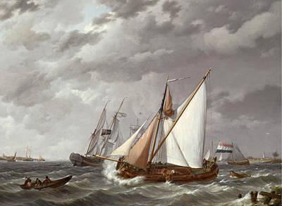 Painting - Sailing Boats On A Choppy Sea by Johannes Hermanus Koekkoek