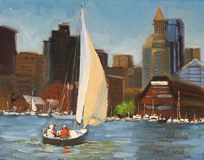 Boston Painting - Sailing Boston Harbor by Laura Lee Zanghetti