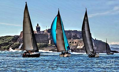 San Juan Digital Art - Sailing El Morro  by Carey Chen