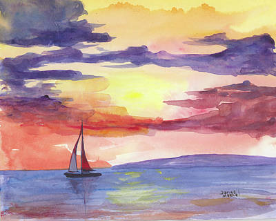 Hawaii Painting - Sailing Into The Sunset by Darice Machel McGuire