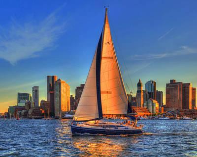 Sailing On Boston Harbor Print by Joann Vitali