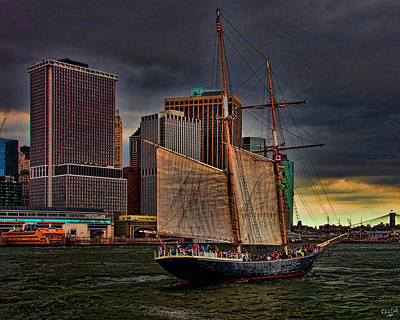 Sailing On The East River Print by Chris Lord
