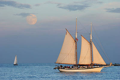 Sailing Ship With Moon Print by Abhi Ganju