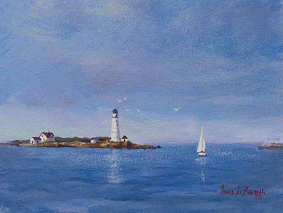 Sailing To Boston Light Print by Laura Lee Zanghetti