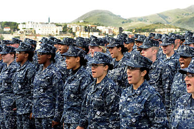 Camouflaged Photograph - Sailors Yell Before An All-hands Call by Stocktrek Images