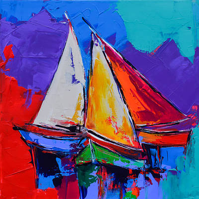 Hand Thrown Painting - Sails Colors by Elise Palmigiani