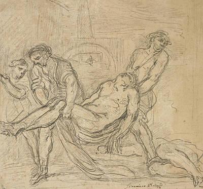 Religious Drawings Drawing - Saint Abdon And Saint Sennen Bury Christian Martyrs by Il Borgognone